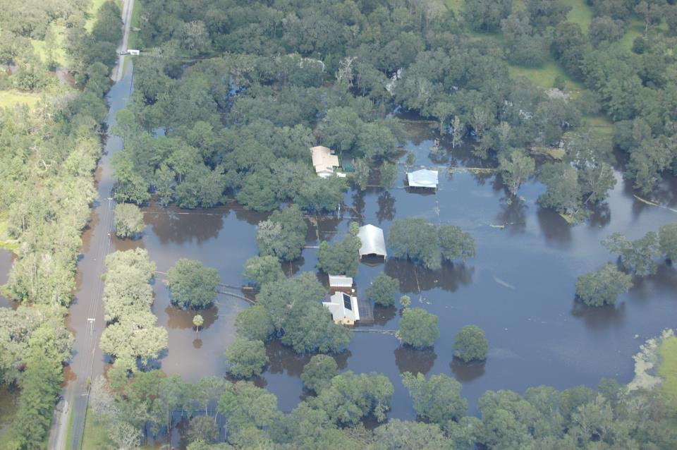 Aerial flooded houses