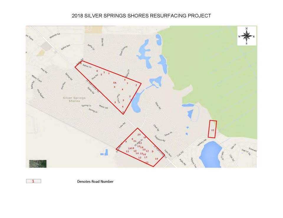 Silver Springs Shores resurfacing map 2018