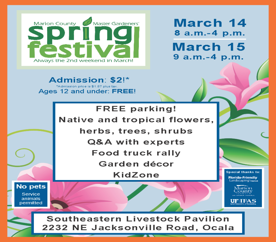 2020 Master Gardeners' Spring Festival flier, page one