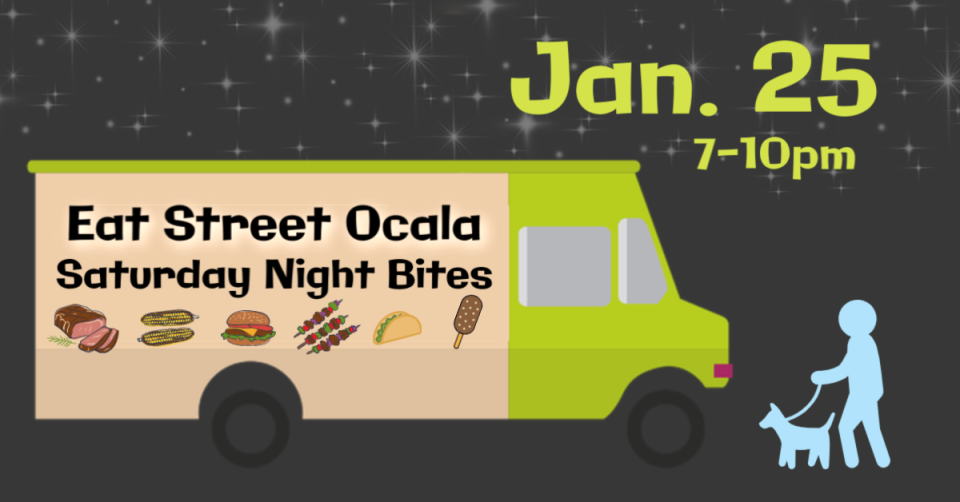 Food truck and dog walking graphic