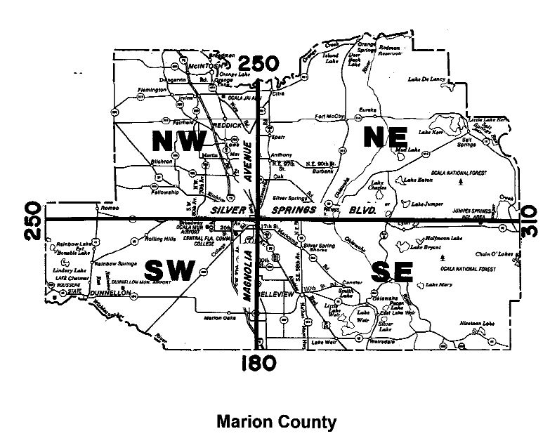 map of county quadrants