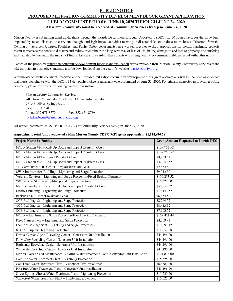 View the two-page grant application summary here.
